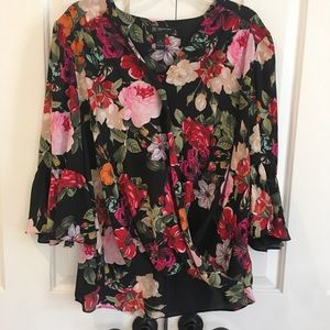 Floral Cross-over Blouse